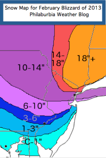 Snow Map for February Nor'easter of 2013