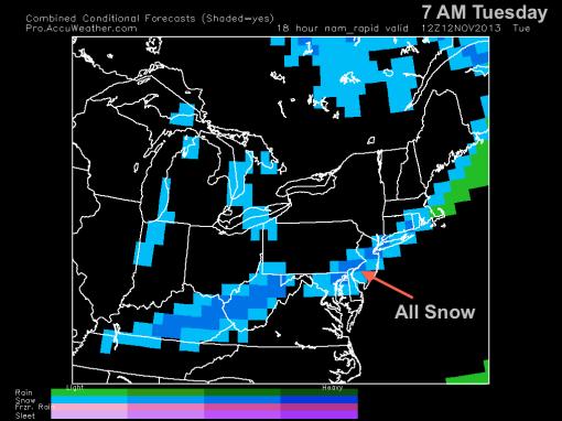 All snow 7 AM Tuesday