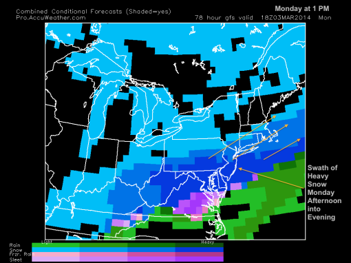 GFS model 1 PM Monday
