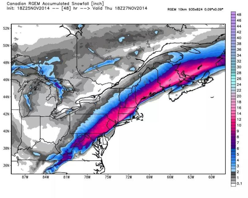 RGEM model snow projection