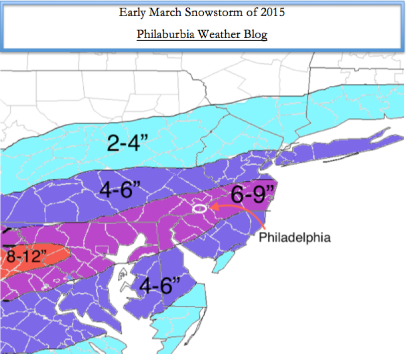Snow Map for Early March Snowstorm