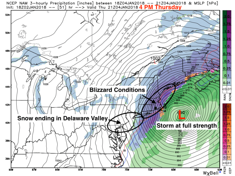 Nor'easter Peak Strength