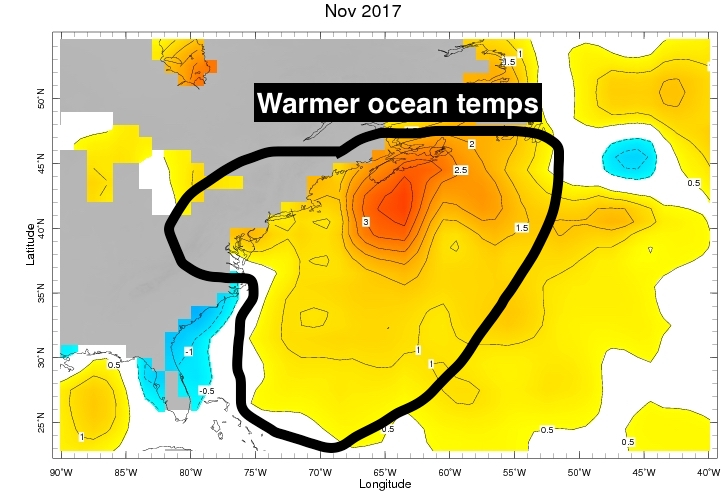 Above average ocean temperatures