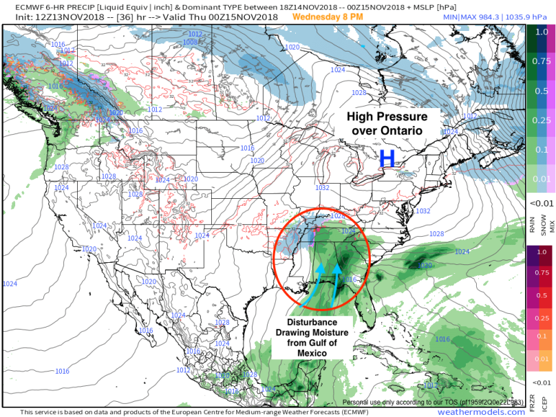 9-km ECMWF USA Cities United States Precip Type & MSLP 36